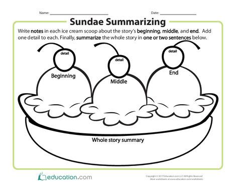 Second Grade Reading & Writing Worksheets: Sundae Summarizing