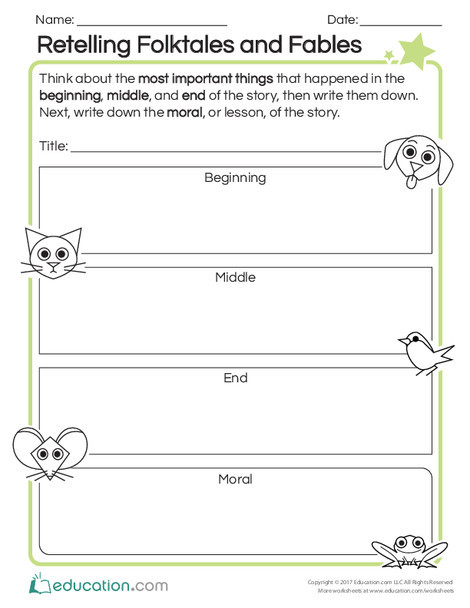 Second Grade Reading & Writing Worksheets: Retelling Folktales and Fables