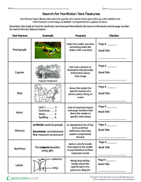 Third Grade Reading & Writing Worksheets: Search for Nonfiction Text Features