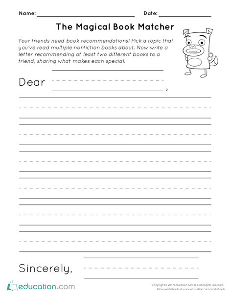 First Grade Reading & Writing Worksheets: The Magical Book Matcher