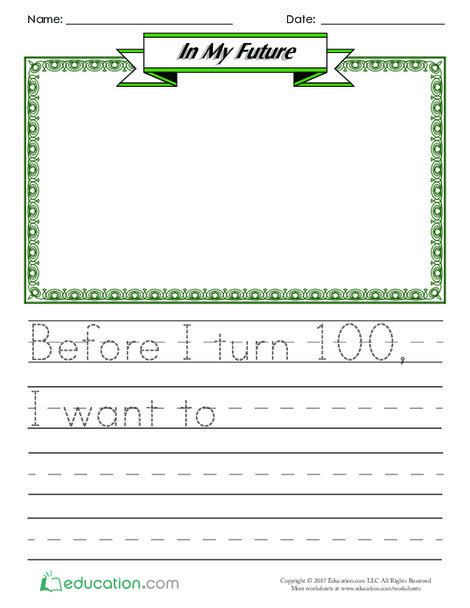 Kindergarten Reading & Writing Worksheets: In My Future