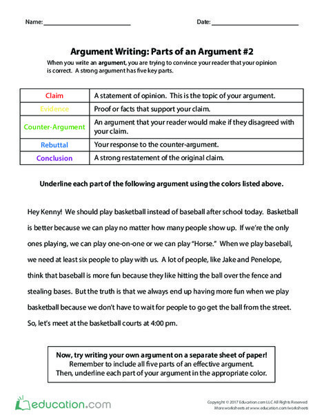 Fourth Grade Reading & Writing Worksheets: Argument Writing: Parts of an Argument #2