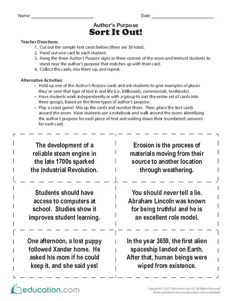 Fifth Grade Reading & Writing Worksheets: Author's Purpose: Sort It Out!