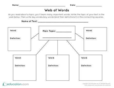 First Grade Reading & Writing Worksheets: Graphic Organizer Template: Web of Words