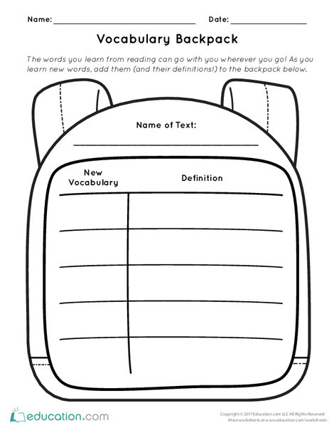 First Grade Reading & Writing Worksheets: Vocabulary Backpack