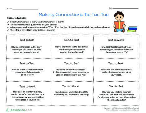 Fourth Grade Reading & Writing Worksheets: Making Connections Tic-Tac-Toe