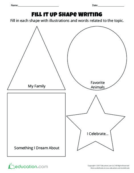 Preschool Reading & Writing Worksheets: Fill It Up Shape Writing