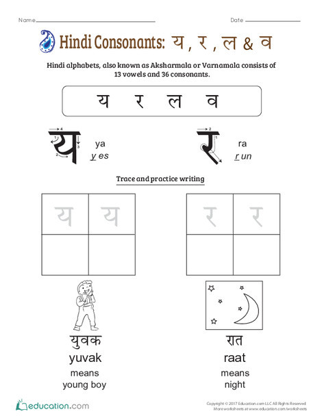 Preschool Foreign language Worksheets: An Introduction to Hindi Consonants: Ya, Ra, La, Va