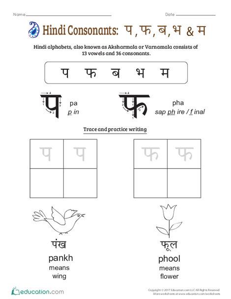 Preschool Foreign language Worksheets: An Introduction to Hindi Consonants: Pa, Pha, Ba, Bha, Ma