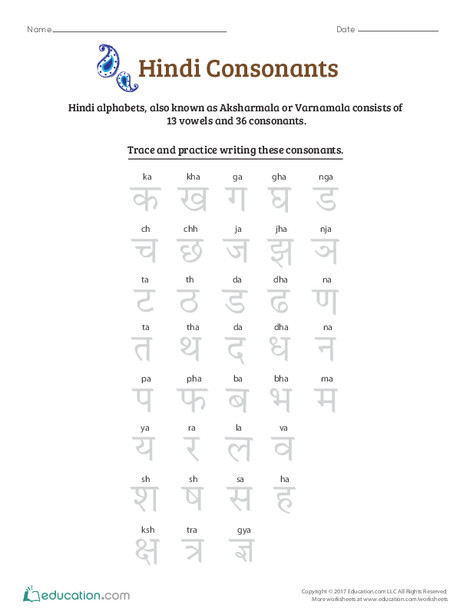 Preschool Foreign language Worksheets: An Introduction to Hindi Consonants: An Overview