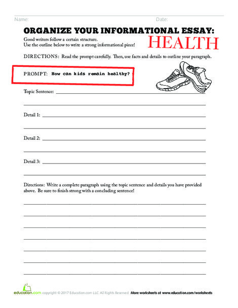 Third Grade Reading & Writing Worksheets: Organize your Informational Essay: Health