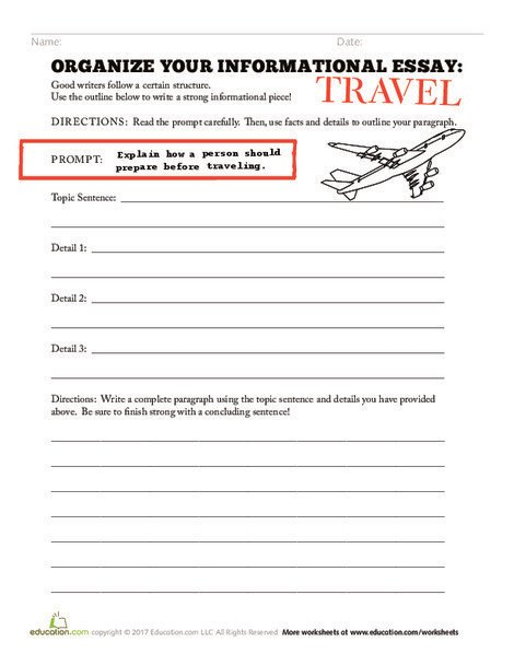 Third Grade Reading & Writing Worksheets: Organize your Informational Essay: Travel