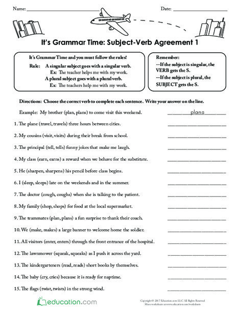 Third Grade Reading & Writing Worksheets: It's Grammar Time: Subject-Verb Agreement 1