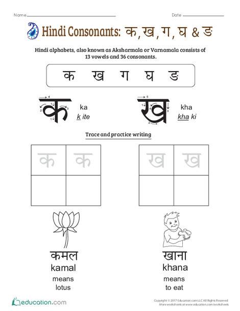Preschool Foreign language Worksheets: An Introduction to Hindi Consonants: Ka, Kha, Ga, Gha, Nga