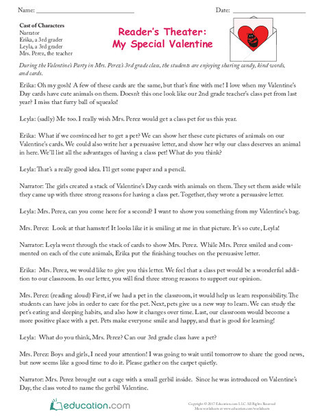 Third Grade Reading & Writing Worksheets: Reader's Theater: My Special Valentine
