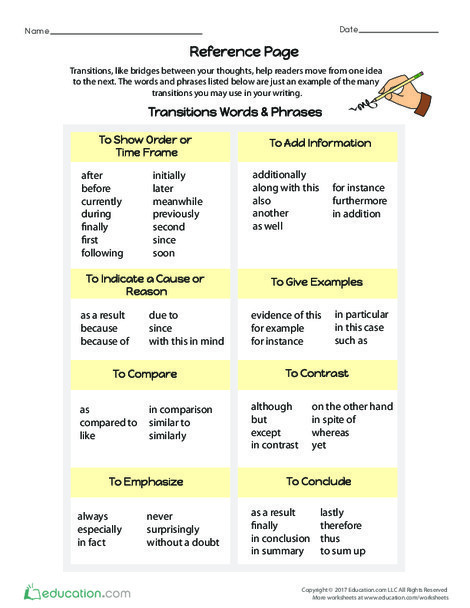 Fourth Grade Reading & Writing Worksheets: Practice Using Transitions #2