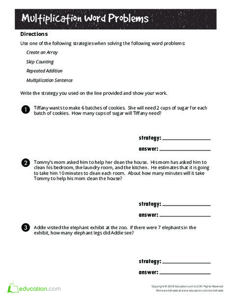 Second Grade Math Worksheets: Hooray for Arrays: Multiplication Word Problems (Part One)