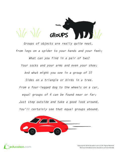 Third Grade Math Worksheets: Hooray for Arrays: A Poem About Groups