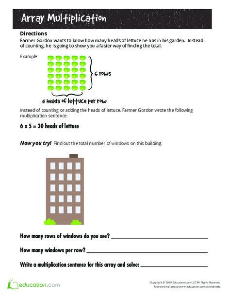 Third Grade Math Worksheets: Hooray for Arrays: Multiplication