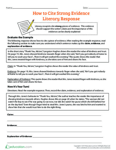 Fourth Grade Reading & Writing Worksheets: How to Cite Strong Evidence: Literary Response