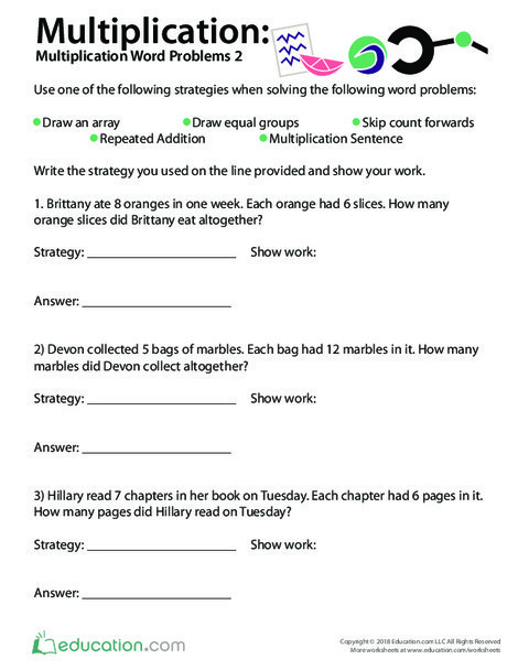 Third Grade Math Worksheets: Multiplication: Word Problems (Part Two)