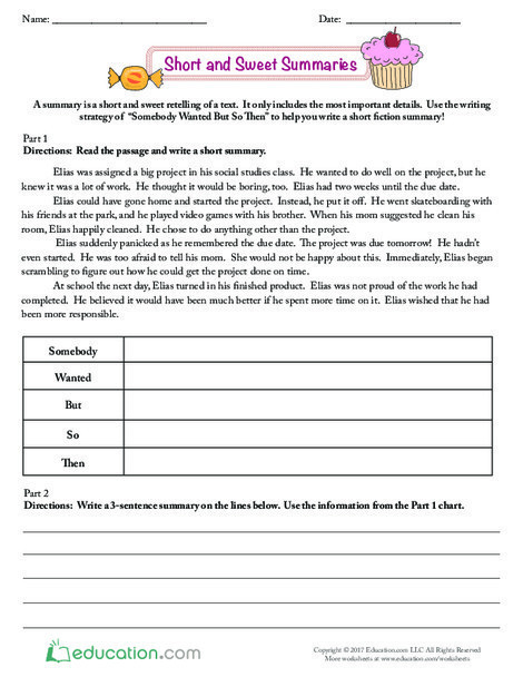 Third Grade Reading & Writing Worksheets: Short and Sweet Summaries