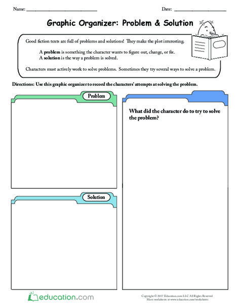 Third Grade Reading & Writing Worksheets: Graphic Organizer: Problem & Solution