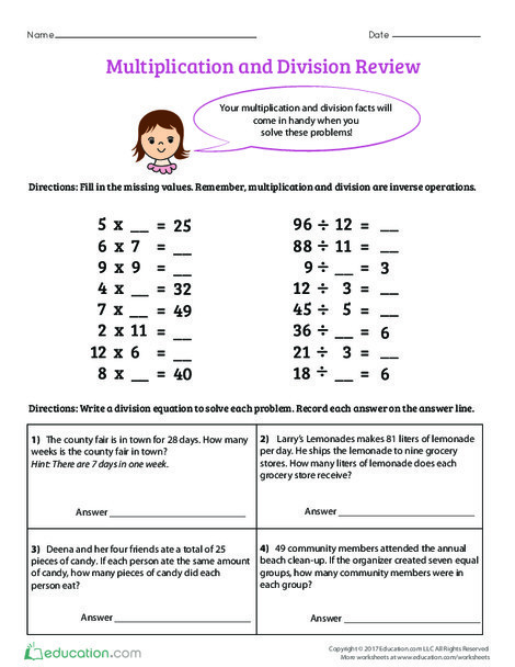 Fourth Grade Math Worksheets: Multiplication and Division Review