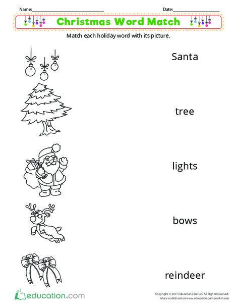 Preschool Reading & Writing Worksheets: Christmas Word Match