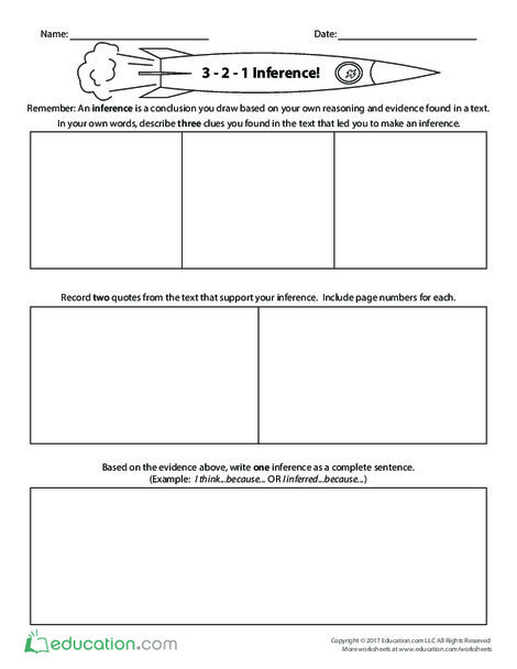 Fifth Grade Reading & Writing Worksheets: 3-2-1 Inference!
