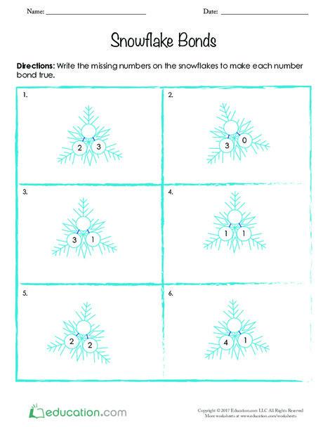 Kindergarten Math Worksheets: Snowflake Bonds