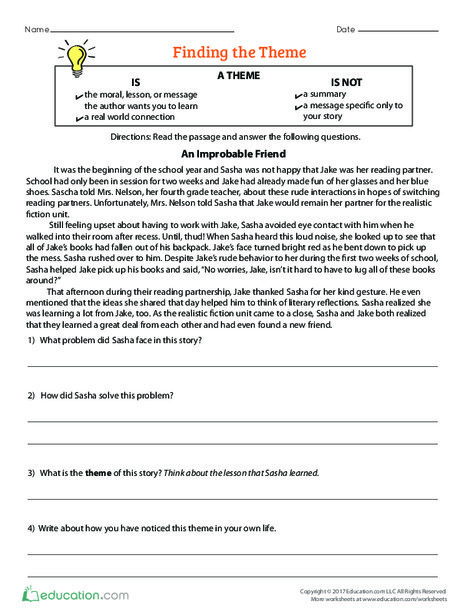 Fourth Grade Reading & Writing Worksheets: Finding the Theme