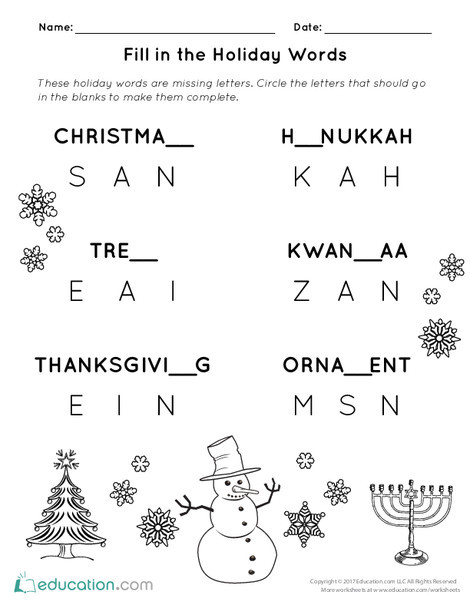 First Grade Reading & Writing Worksheets: Fill in the Holiday Words