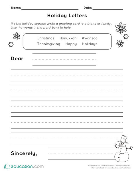 First Grade Reading & Writing Worksheets: Holiday Letters