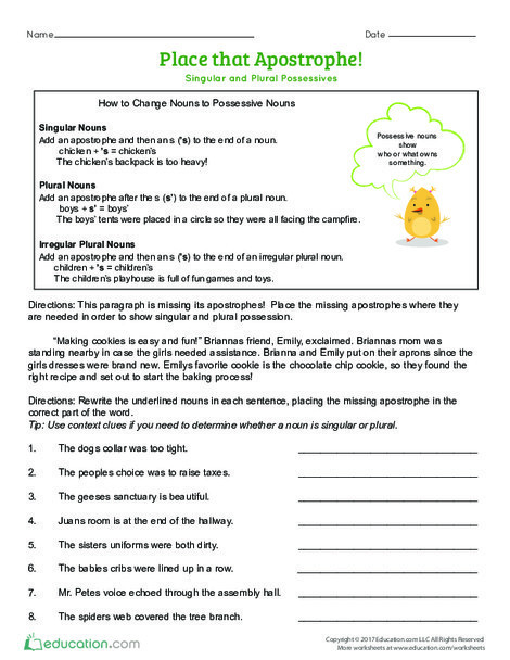 Fourth Grade Reading & Writing Worksheets: Place that Apostrophe! Singular and Plural Possessives