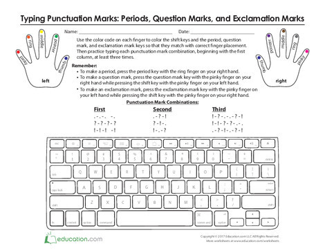 Third Grade Typing Worksheets: Where Do My Fingers Go? Typing Punctuation