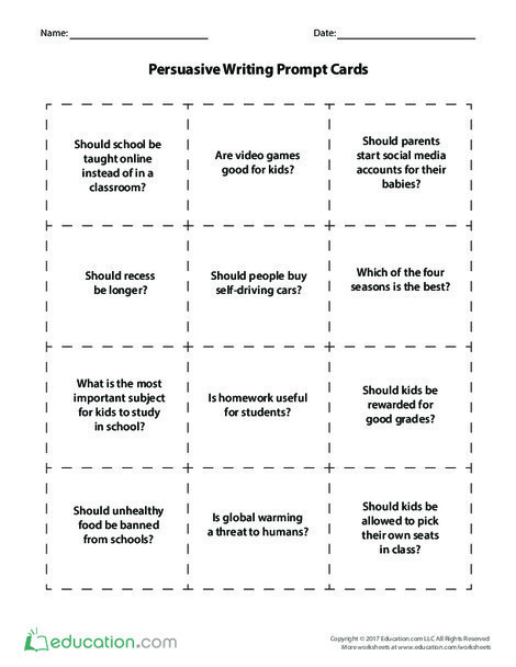 Fourth Grade Reading & Writing Worksheets: Persuasive Writing Prompt Cards