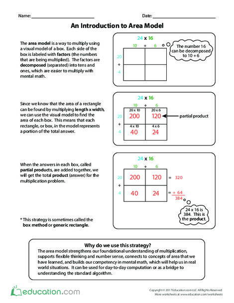 Fourth Grade Math Worksheets: An Introduction to Area Model