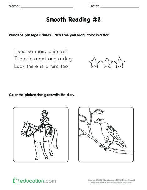 Kindergarten Reading & Writing Worksheets: Smooth Reading #2