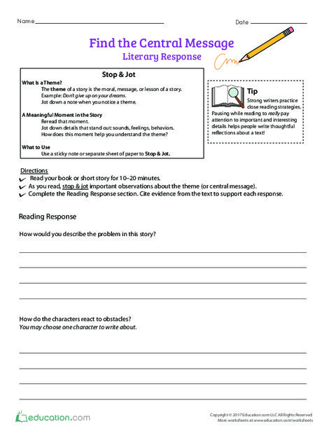 Fourth Grade Reading & Writing Worksheets: Find the Central Message: Literary Response