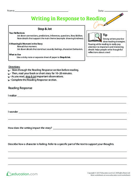 Fourth Grade Reading & Writing Worksheets: Writing in Response to Reading
