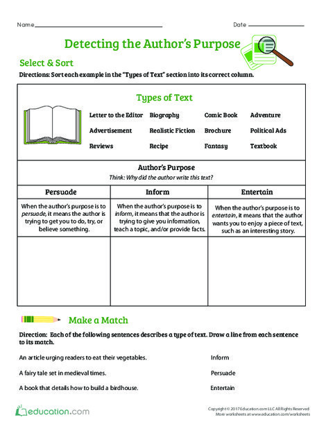 Fourth Grade Reading & Writing Worksheets: Detecting the Author's Purpose