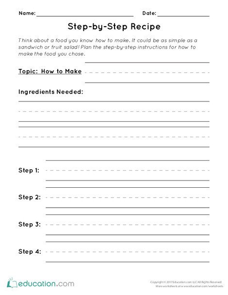 First Grade Reading & Writing Worksheets: Step-by-Step Recipe