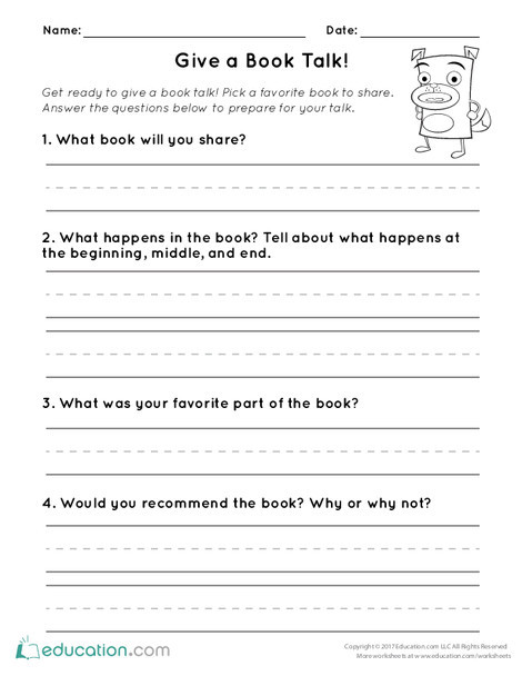 First Grade Reading & Writing Worksheets: Give a Book Talk!
