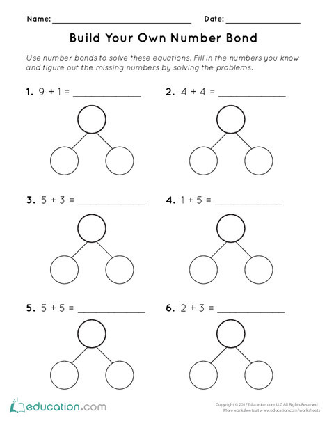 First Grade Math Worksheets: Build Your Own Number Bond