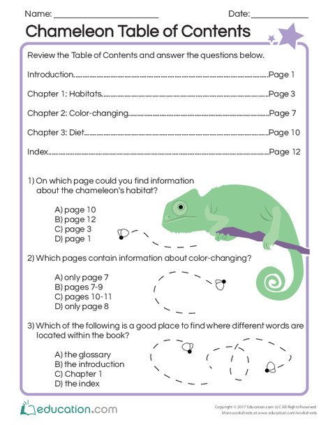 Second Grade Reading & Writing Worksheets: Chameleon Table of Contents