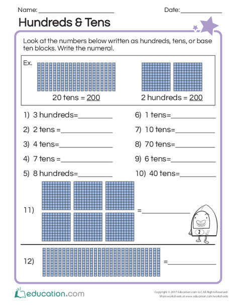 Second Grade Math Worksheets: Hundreds & Tens