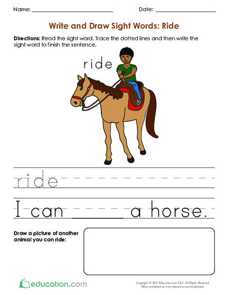 Kindergarten Reading & Writing Worksheets: Write and Draw Sight Words: Ride