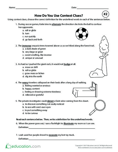 Fifth Grade Reading & Writing Worksheets: How Do You Use Context Clues? Exercise #2