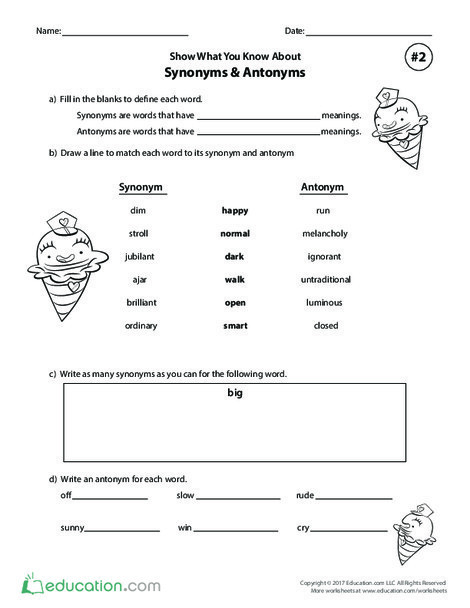 Fifth Grade Reading & Writing Worksheets: Show What You Know About Synonyms & Antonyms #2